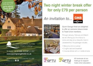 Quorn Grange Hotel / GFTU offer for GMB members